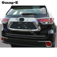 For Toyota Highlander 2018 2019 car sticker cover detector Rear license frame trunk plate trim Strip bumper hoods parts 1pcs
