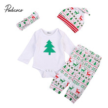 2017 New Style Christmas Infant Baby Boys Girls Clothes Xmas Long Sleeve Romper +Pant+ Hat +Headdress 4pcs Clothing Set