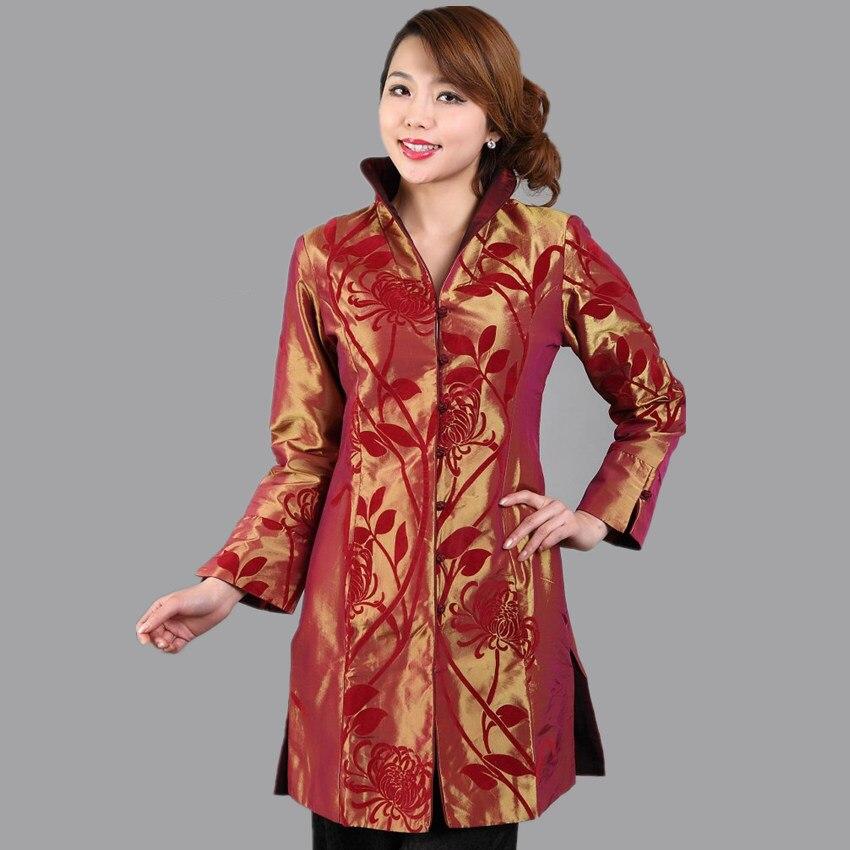 Caliente venta tradicional chino de longitud femenino de la Chaqueta abrigo Chaq