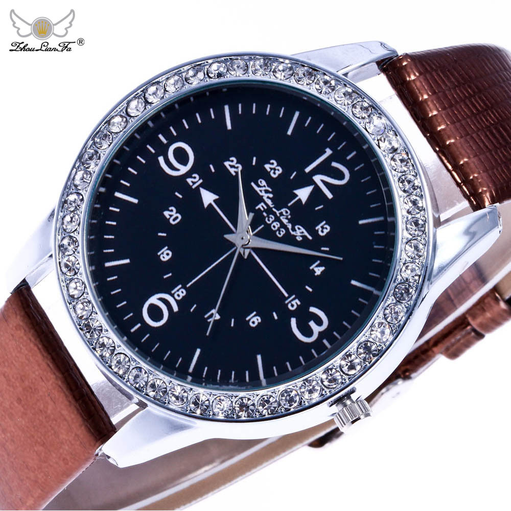 Compass Pattern Double Digital Scale Silver Diamond Alloy Dial White Leather 20mm Strap Men font b