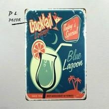 DL- 칵테일 블루 lagoou 알코올 주석 기호 금속 포스터 벽 장식 술집 바 선술집 표시