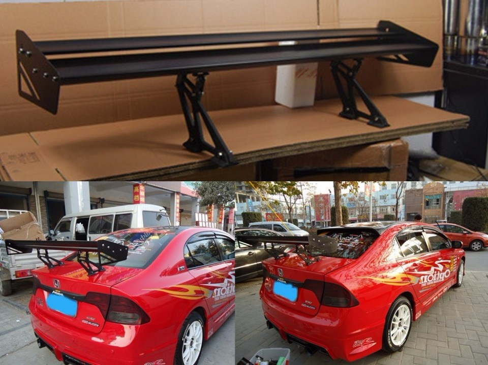 Length 43Inch Rear Cars Trunk Racing GT Wing Bracket High Performance Aluminum Spoiler Wing Universal Fit Adjustable Spoilers for Cars Tail Hihone Car Rear Spoiler Wing