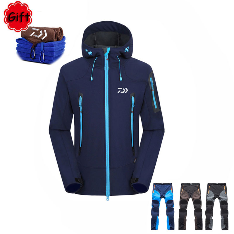 Daiwa Fishing Clothing Outdoor Sports Pants Sunproof Fishing Clothes Jacket and Pant for Winter Hiking Fishing with Free Gift