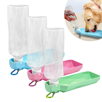 Dog Travel Water Bottle Dispenser Foldable Plastic Dog Cat Drinking Water Feeder Portable Outdoor Pet Puppy Bowl 250ml 500ml