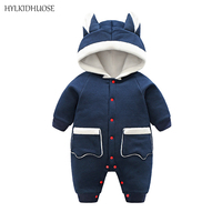 HYLKIDHUOSE Infant Newborn Rompers Autumn Winter Baby Girls Boys Jumpsuits Hooded Warm Cotton Babies Rompers One