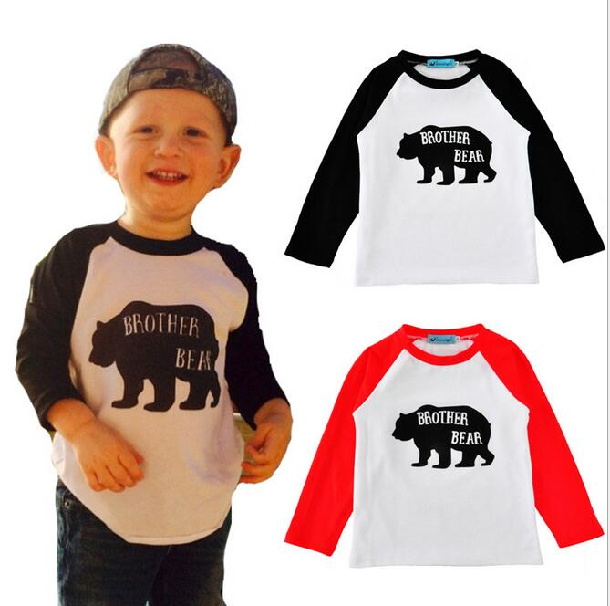 2017 Babies Cotton Cartoon T-shirts Kids Boys and Girls Letter Brother bear Jumper Shirts Childrens Spring Fashion Clothing