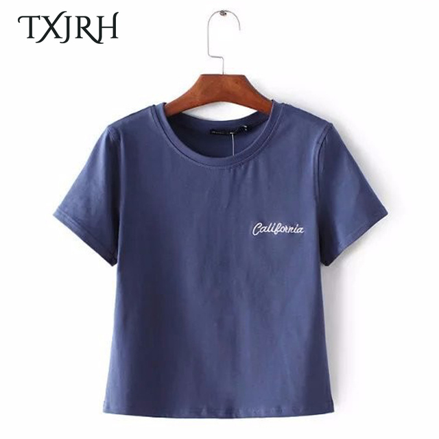 443d75632b TXJRH Embroidery Caligonnia New York Letter Brandy Melville Style Tops  T-Shirt Summer Femme Couple Camisetas Mujer 12 Color
