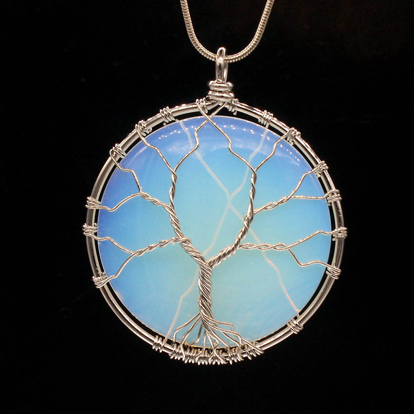 Blue Opalite Crystal Tree Of Life Chakra Pendant Silver Wire Wrap Stone Necklace