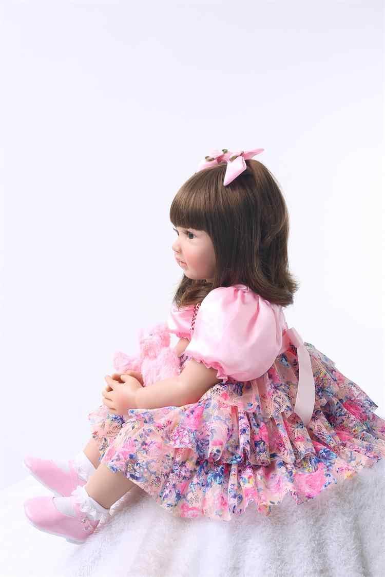 """24 """"סיליקון Reborn פעוטות תינוק בובת צעצועי 60cm נסיכת ילדה כמו בחיים Bebe בנות Brinquedos מוגבלת אוסף יום הולדת מתנה"""