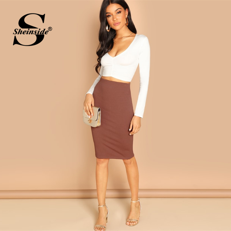Image 5 - Sheinside Elegant Coffee Bodycon Midi Skirt Women 2019 Spring Mid Waist Pencil Skirts Office Ladies Workwear Solid Skirt-in Skirts from Women's Clothing