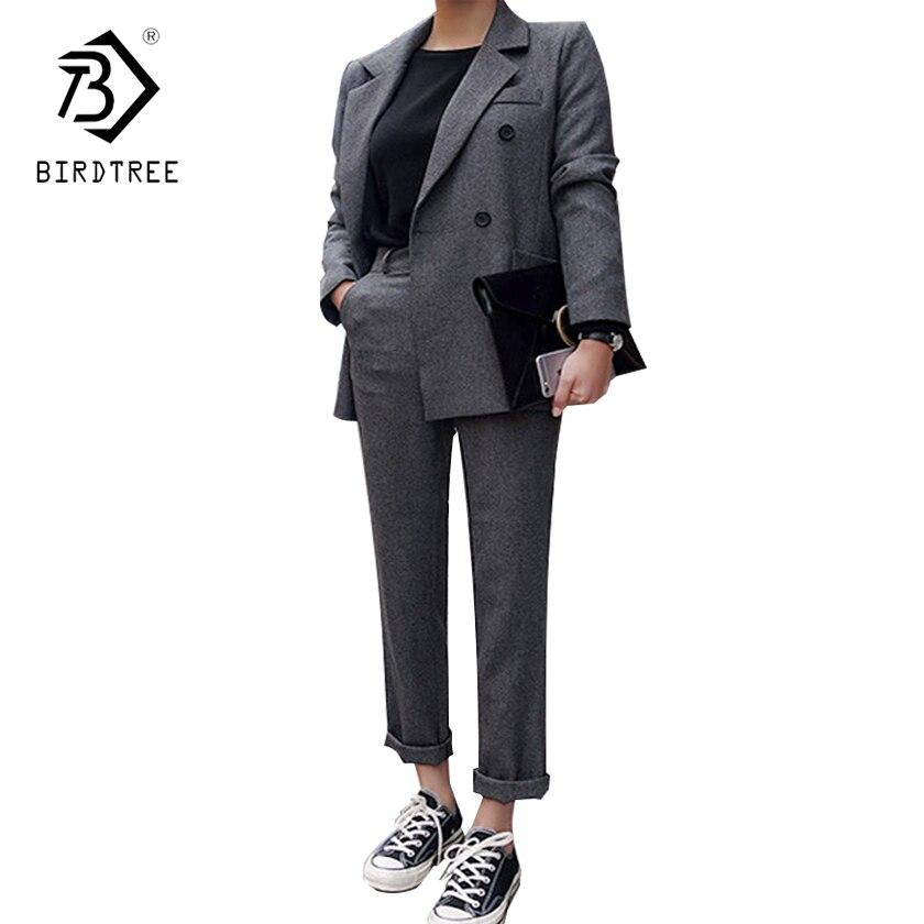 2018 Новая мода Для женщин Бизнес брючный костюм формальные офисные двубортный тонкий с длинными рукавами Блейзер и брюки C83104L