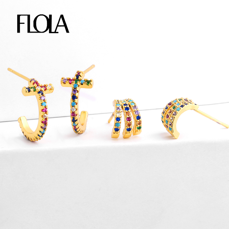 FLOLA Ladies CZ Rainbow Ear Studs Cheap Gold Cross Stud Earrings Small Aretes De Moda Trending Huggie Jewellery 2019 Ersq23