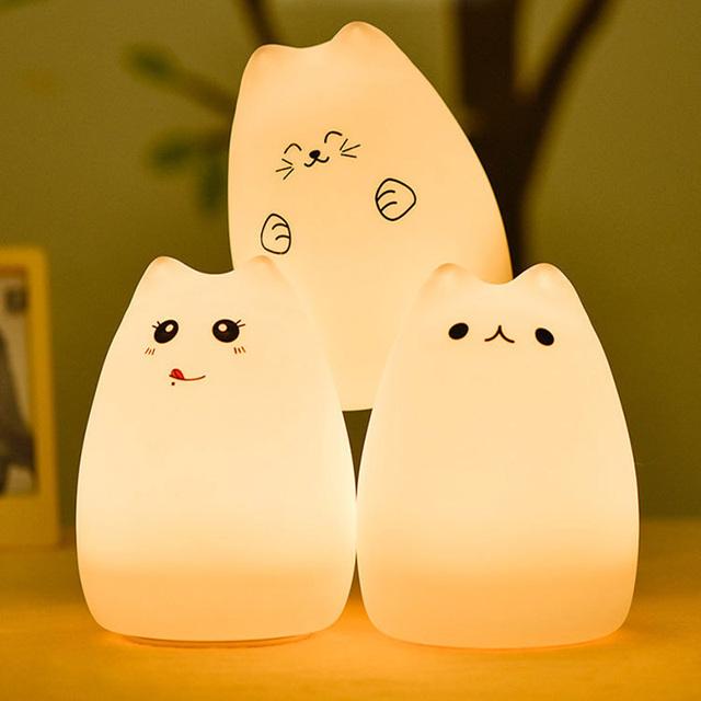 USB Recarregável Lâmpada Luz Da Noite LEVOU Sensor de Vibração luminaria de mesa Dimmer Lâmpada de Cabeceira Do Quarto Do Bebê