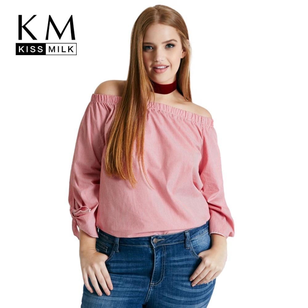 Kissmilk plus size nuevas mujeres clothing casual hombro off Bow-tie Cuello Slas