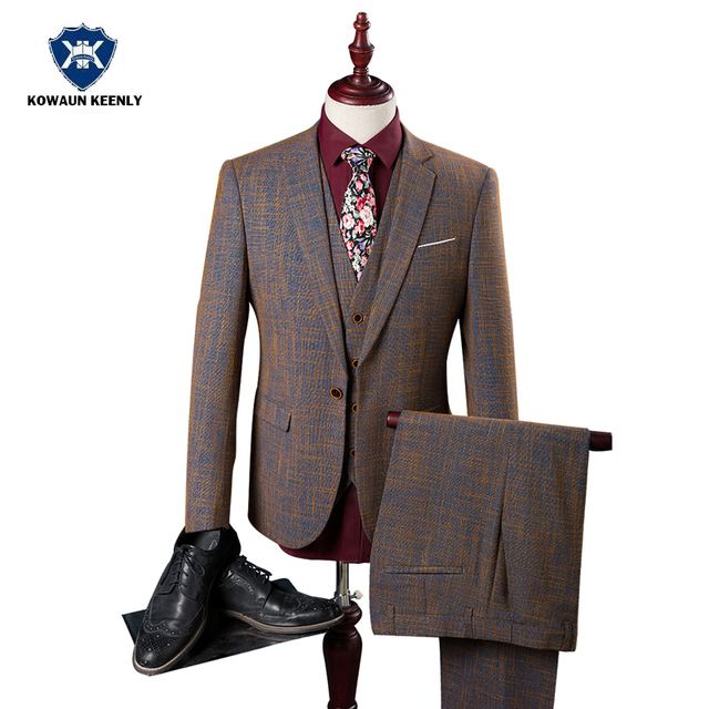 High Quality 3 Piece Gentleman Style Classic Mens Plaid Suit for Wedding  Luxury Grooms Tuxedos Party 1a861694411