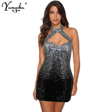 Sexy Women Halter Sleeveless Summer Sequins Dress 2019 New Black Silver Stitching Sequined Vintage Party Dresses Vestidos