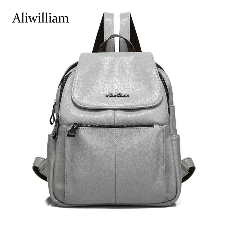 Aliwilliam 2017 Multifunctional Women Leather Backpack Women Double Shoulder Bags Backpacks For Teenage Girls Mochila Bolsa