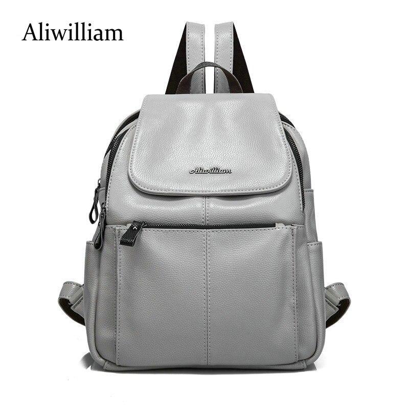 Aliwilliam 2018 Multifunctional Women Leather Backpack Women Double Shoulder Bags Backpacks For Teenage Girls Mochila Bolsa aliwilliam