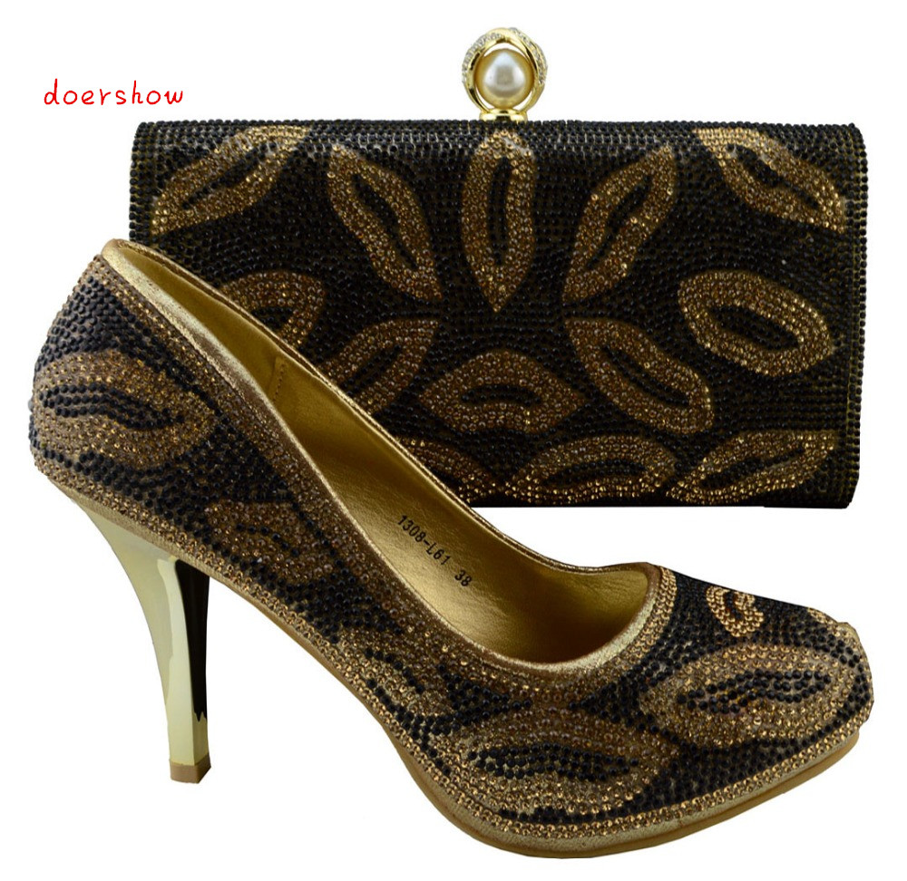 Фото doershow Fashion italian gold shoes and bags sets to match for african women Free Shipping,gold color in stock,size38-42 HJZ1-83