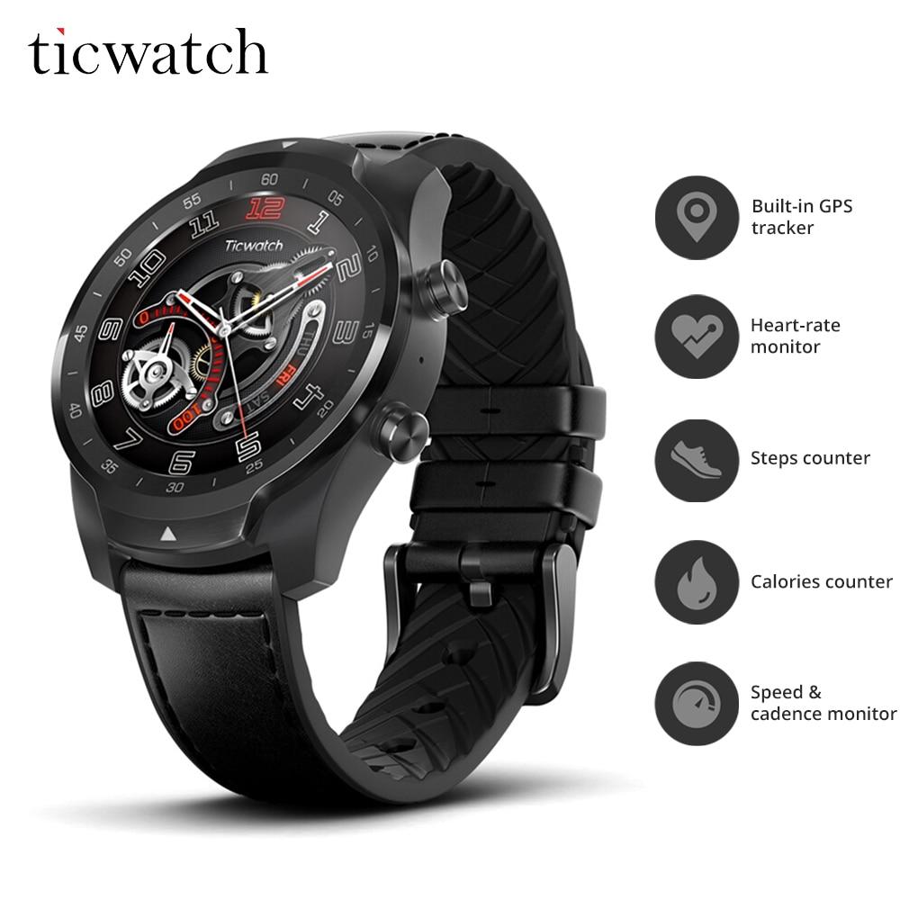 V4.2 Ticwatch Pro Relógio Inteligente Bluetooth 415 mAH IP68 2-30 dias a Duração Da Bateria À Prova D' Água GPS NFC Pagamentos/ assistente Google Esportes