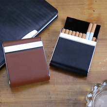 Cigarette Case Leather Tobacco Holder Thin Aluminum Metal Box Wire Drawing Trendy Mini Storage
