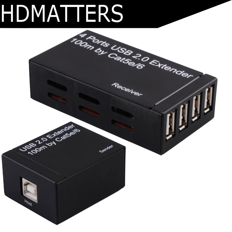 USB 2.0 extender 4 port by cat5e/6 cable up to 100M with power adapter-in Computer Cables & Connectors from Computer & Office    1