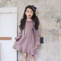 Retail 1pcs Good Quality Kids Girls Autumn Embroidered Flower Flare Sleeve Trumpet Mermaid Dress For Girls