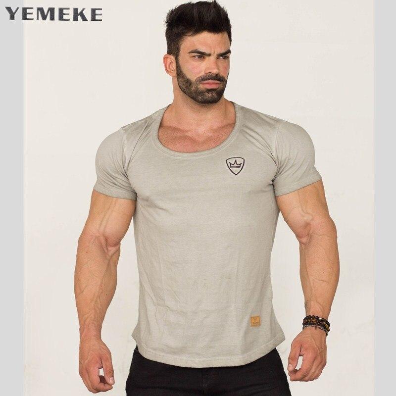 YEMEKE Mens short sleeve   t  -  shirt   summer Casual gyms Fitness workout   t     shirt   2018 Man tees tops Slim elasticity Fashion clothing