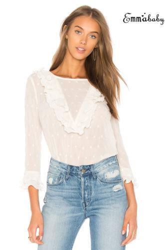 Lace Sexy Shirt Womens Ladies Fashion Ruffle Frill Long Sleeve Casual Top Shirt Blouse 3