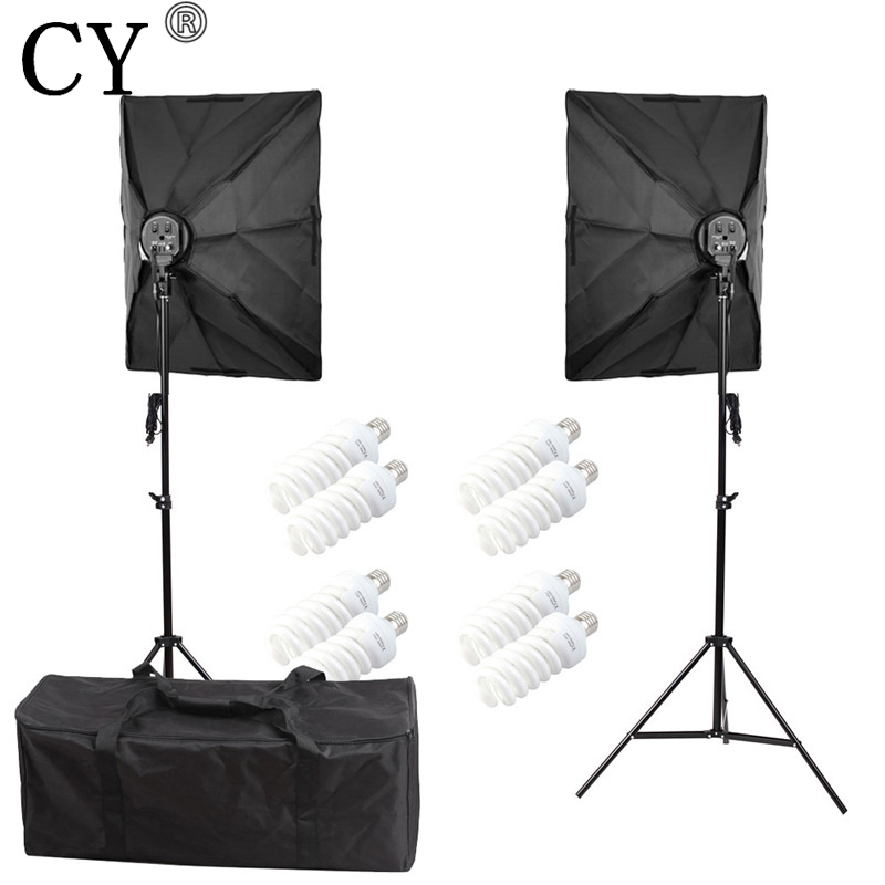 CY Photography Soft Box Continuous Lighting Kits 110V Daylight Lamp+E27 4 Socket Head+50x70cm Softbox+Stand Photo Studio Set cy photography studio lighting kits e27 4 lamp head holder with umbrella and light stand photo studio set hot selling