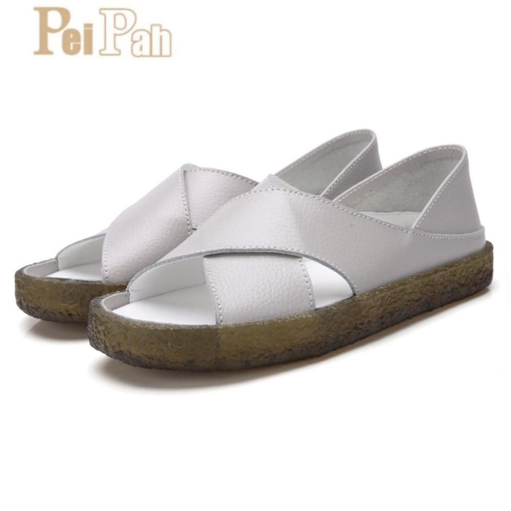 Sandálias das Senhoras Sapatos de Verão Peipah 16 Sandalias Mujer Estilo Couro Genuíno Verão Sandálias Flat Mulheres Casual Feminino Flip Flops
