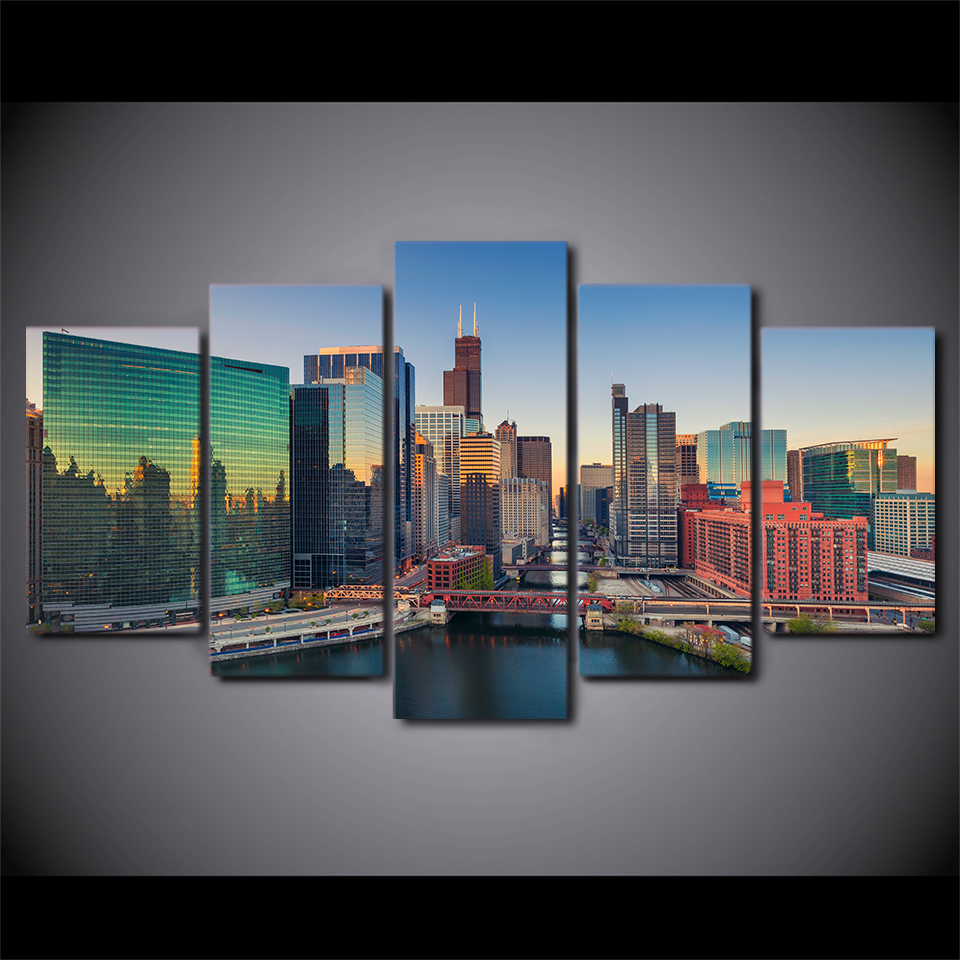 5 pieces art city building skyscrapers poster HD print home decor wall pictures for living room canvas painting Frameless
