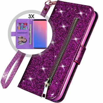 Bling Glitter Case For Samsung Galaxy S10e Note 8 9 S10 Plus S9 S8 Plus S7 Edge S6 Leather Flip Stand Zipper Wallet Cover Coque 1