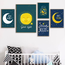 Baby Girl Boy Good Night Moon Star Wall Art Canvas Painting Nordic Poster Nursery Prints Decoration Pictures For Kids Room Decor wall art canvas paintings good morning good night bedroom prints black white pictures poster gift kids room decorative