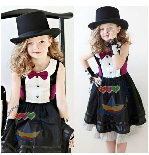 Preppy Style Girls Summer Dress Cute Kids Clothing White With Black Girls Dresses Sleeveless Bow