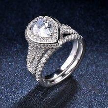 7bcbdd5da5aa Romántico exquisito 2.25ct pera diamante simulado anillo conjuntos sólido  de Plata de Ley 925 CZ boda anillo de compromiso para .