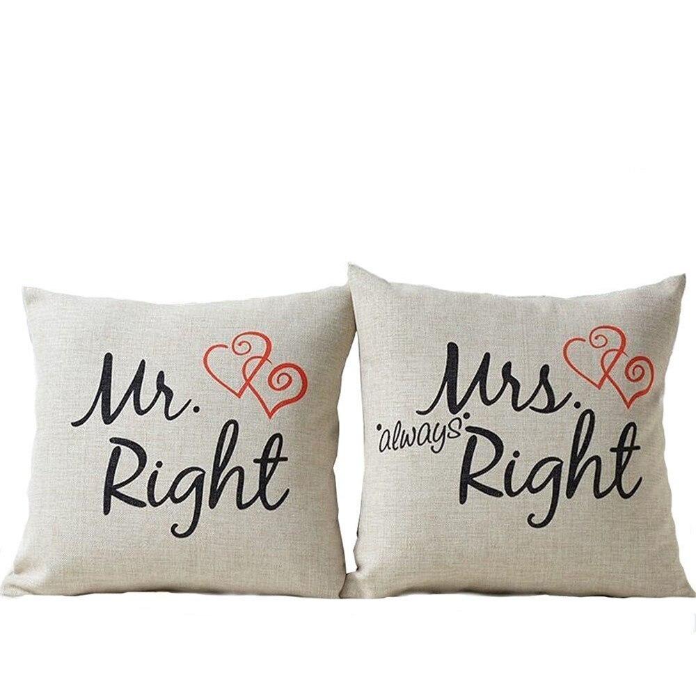Hot Selling 2Pcs Mr Mrs Cotton Linen Pillow Covers Cotton Linen Couple Lovers Square Cushion Cover For Living Room 45cm*45cm