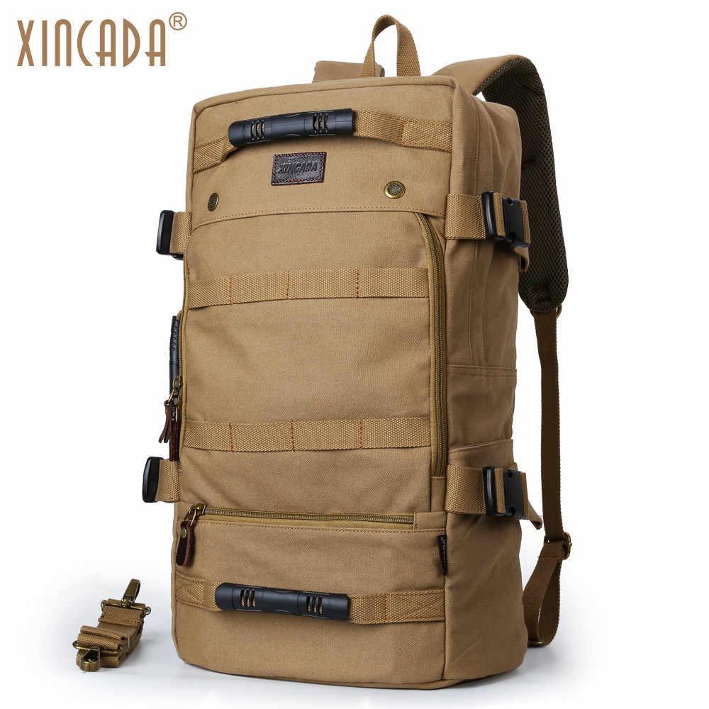 b3f666f01eb XINCADA Men Backpack Vintage Canvas Backpack Rucksack Laptop Travel  Backpacks School Back Pack Shoulder Bag Bookbag
