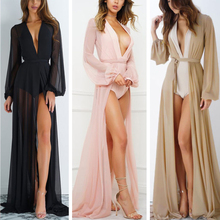 Women Sexy Sheer Wrap Summer Beach Long Dress Holiday Beachwear Sleeve Sundress
