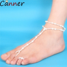 CANNER Multilayer Tassel Pearl Pendant Anklet For Women Footless Bridal Bracelet On Leg Summer Beach Decoration Jewelry 4