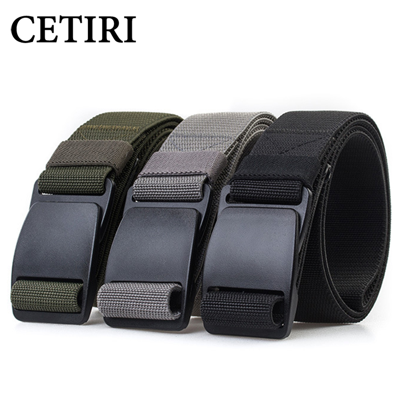 CETIRI 3.8cm Unisex Tactical Web Belt Men Women Military Stretch Webbing Belt With POM Plastic Buckle For Outdoor Hiking