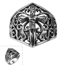 Stainless steel ring hollow ring size 8/9/10/11 cross pattern dress punk style unisex jewelry Easter R148-8