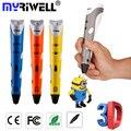 Enchufe de Fábrica Myriwell 3D Pluma Agregar 3 Filamentos de Color 3D de Impresión pluma 3D/1 Generación Mejor Niños Regalo Estéreo 3D Dibujo pluma