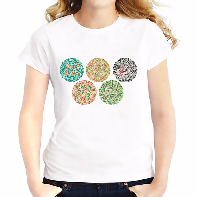 f893b883 Color blind test chart t shirts feminina Summer Tops Tee shirt Breathable  comfort tshirt Short Sleeve girls T-Shirts femme