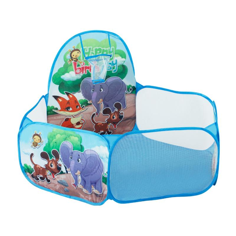 1.2m Kids Playhouse Foldable Indoor Outdoor Play Tent Animal Pattern Shoot Basketball Basket Ocean Ball Pool Baby Toy Tent