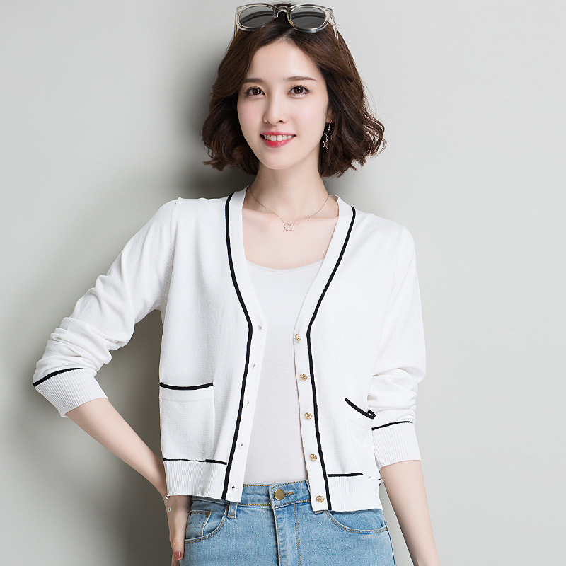 New Brand Knitted Sweaters For Women Fashion Fall Spring V-neck Long Sleeve Jacket Women Sweaters Casual Women Cardigans Coats
