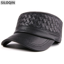 SILOQIN Genuine Leather Hat Adjustable Size Mens Flat Cap Sheepskin Army Military Hats For Men Dad Winter Brands Caps