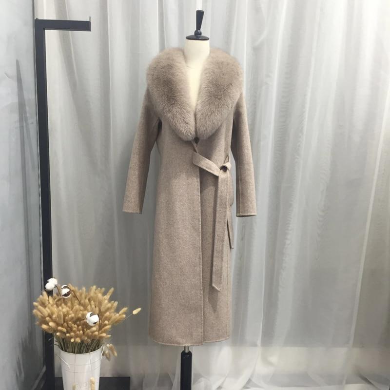 Rf0191 100 Femmes Mode Automne Avec Hiver Gris Fourrure De Réel Col Manteau Laine Renard Amovible fSrvOpqfw
