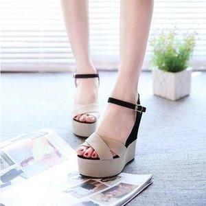 Image 3 - Ankle Strap Front Rear Strap High Summer Wedges Heels Sandals Buckle Solid Women Shoes Fashion Platform Sandals