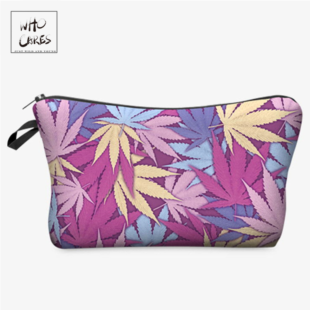 Who Cares Fashion Printing Weed Pink Makeup Bags Cosmetic Organizer Bag Pouchs For Travel Ladies Pouch Women Cosmetic Bag